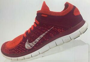 9f783e160504 Nike Free 4.0 Flyknit Running Shoes Orange Purple Training Sneakers ...
