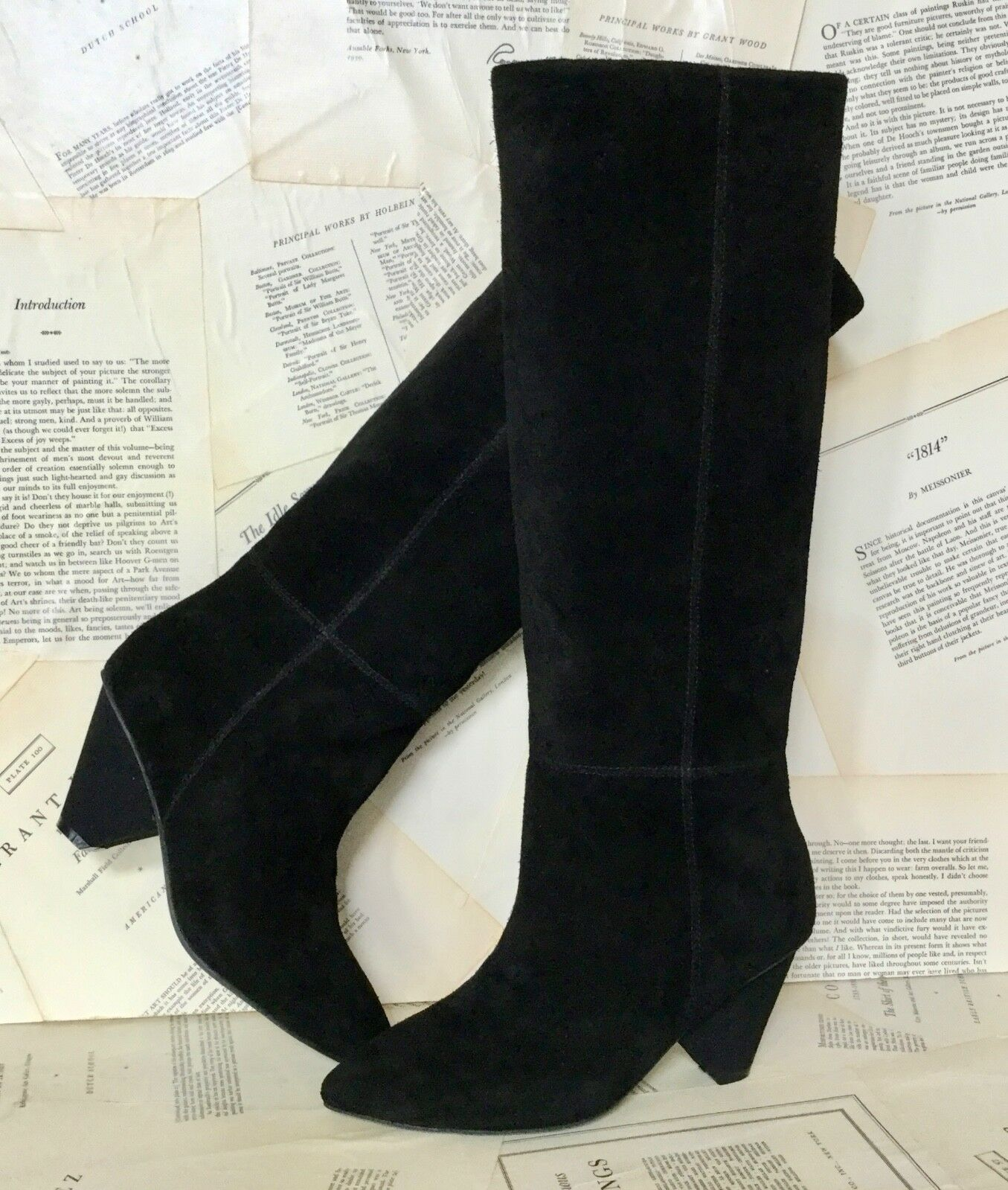 NEW Jeffrey Campbell black Suede Pull Pull Pull on Cone Heel Slouchy Boot 9 4d7035