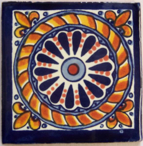 C153- Mexican Handmade Talavera Clay Tile Folk Art 4x4