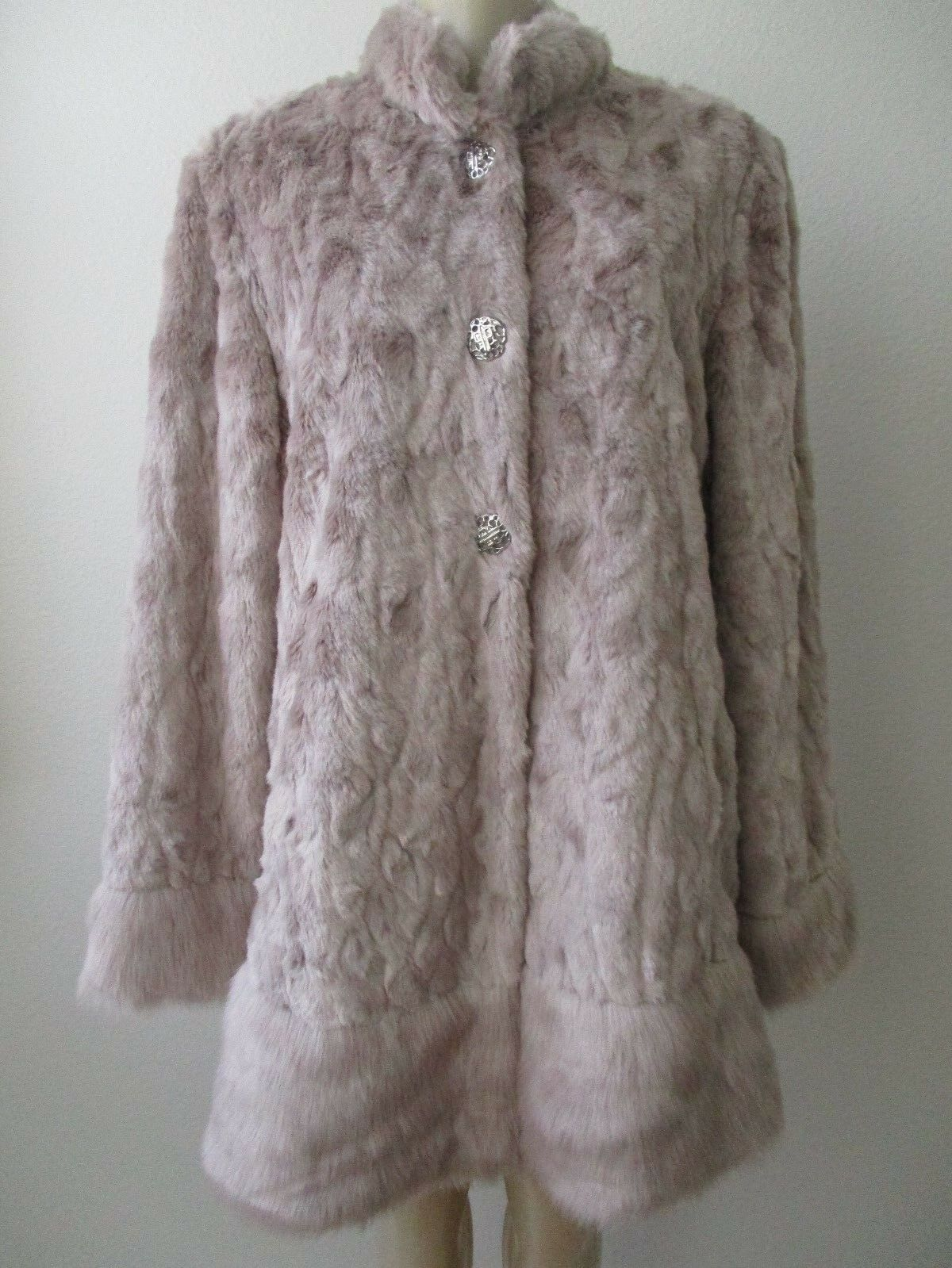 DENNIS BY DENNIS BASSO PLATINUM blueSH FAUX FUR LONG SLEEVE COAT SIZE M - NWT
