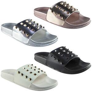 Mujer-senoras-comoda-llano-de-goma-Stud-deslizadores-Zapatos-Bajos-Zapatos-diapositivas-Zapatillas