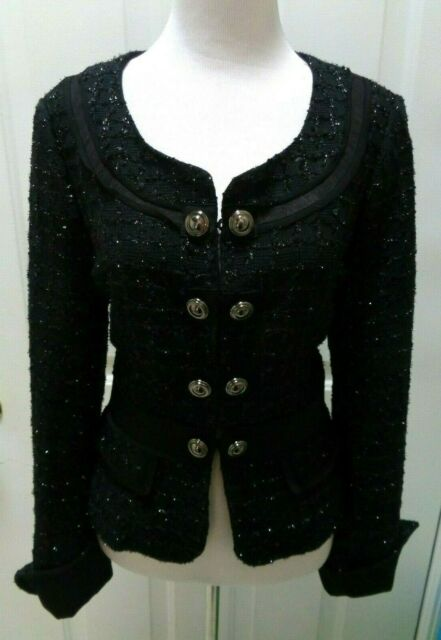 WHITE HOUSE BLACK MARKET BLACK SPARKLE CUFFED SLEEVE BLAZER JACKET SIZE 10