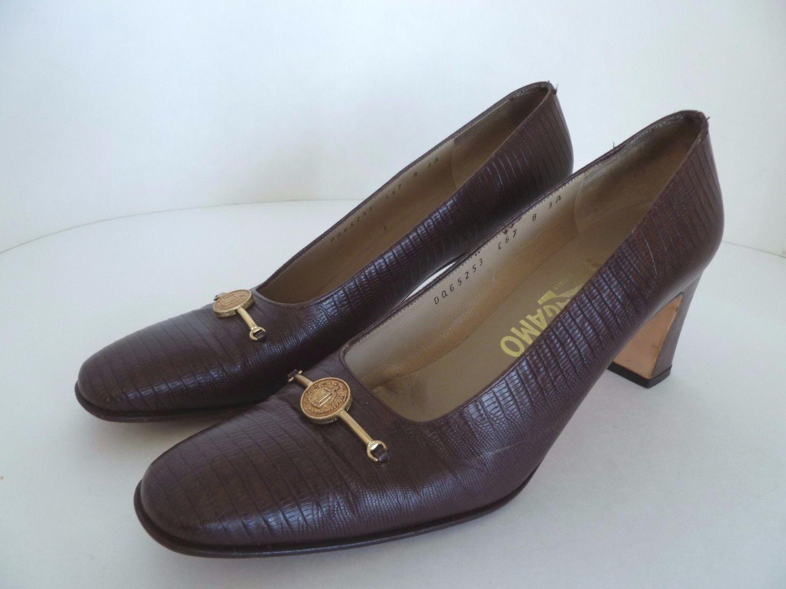 Salvatore Ferragamo Brown Leather Pumps shoes w gold Tone Emblem  Size 8 3A