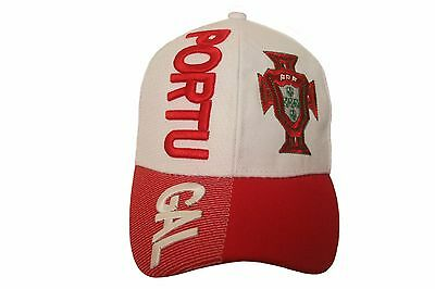 PORTUGAL RED FPF LOGO ON BRIM FIFA SOCCER WORLD CUP  EMBOSSED HAT CAP..NEW