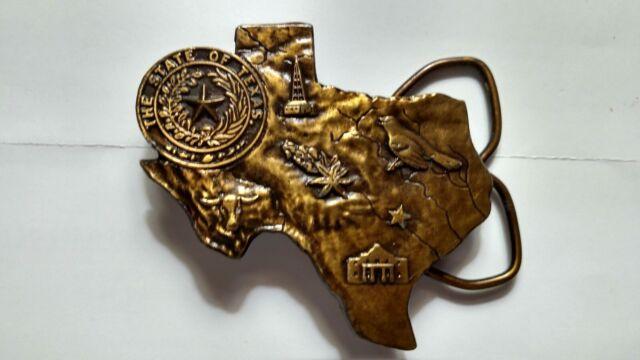Vintage 1976 Texas Brass Belt Buckle Bergamot Brass Works Stamped