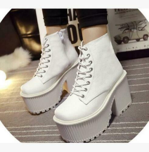 Womens Punk High platform chunky Heel Creepers Lace Up Ankle Boots Party Shoes