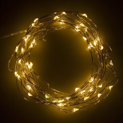 16.4ft 50LEDs Copper Wire Twinkle Battery Powered String Fairy Lights Warm White