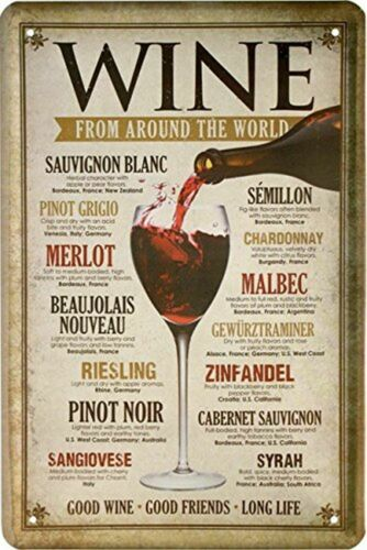 Blechschild Alkohol Wein Wine Around the world Metallschild Wanddeko tin sign