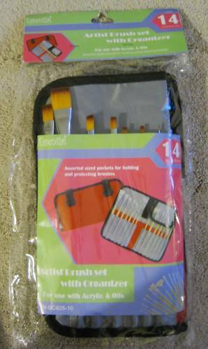 $85 new 14 ARTIST BRUSHES SET ACRYLIC OILS ORGANIZER WITH BOX