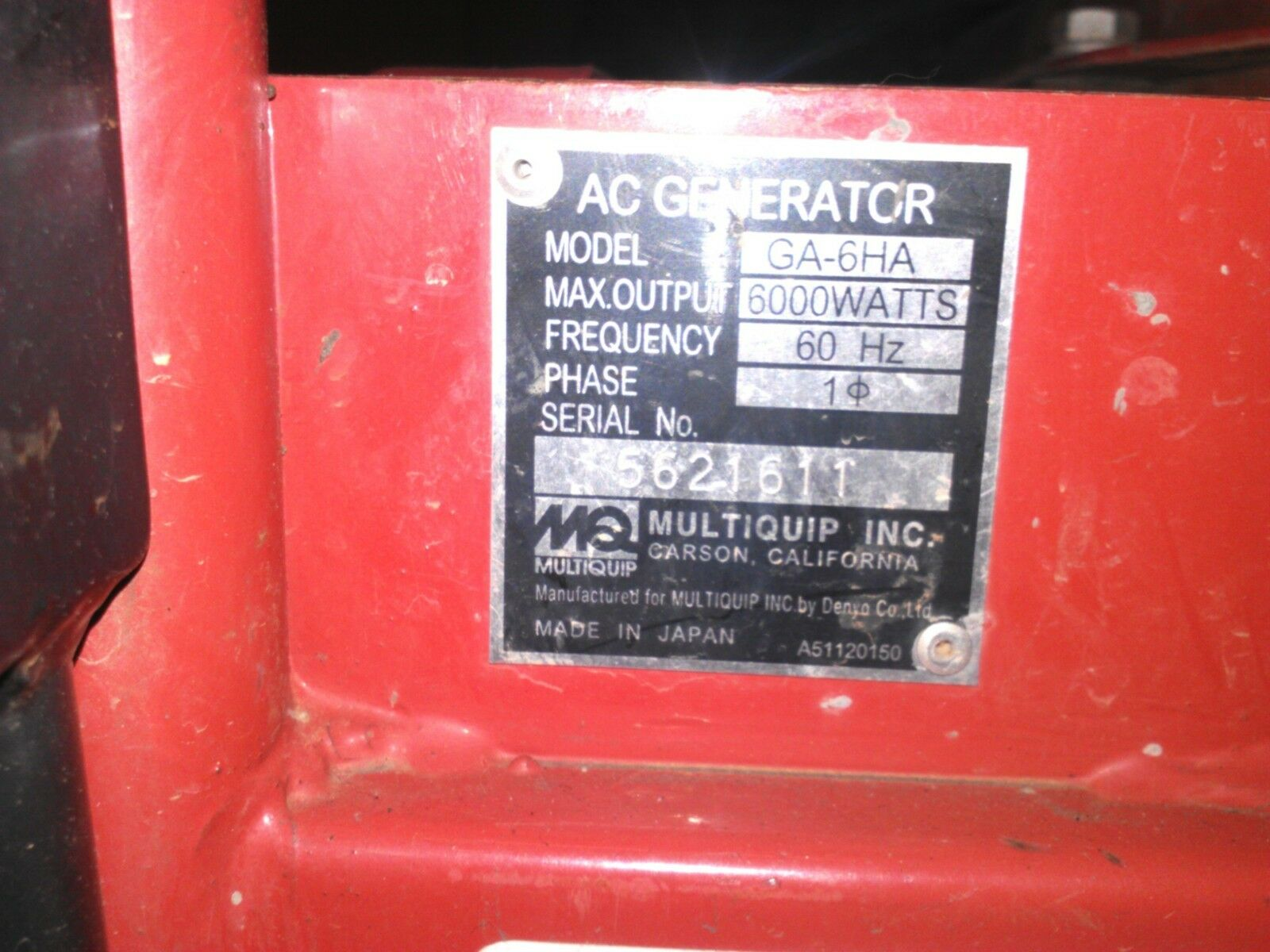 Used 18325ZB4000 PredECTOR FOR MULTIQUIP GA-6HA  -ENTIRE PICTURE NOT FOR SALE