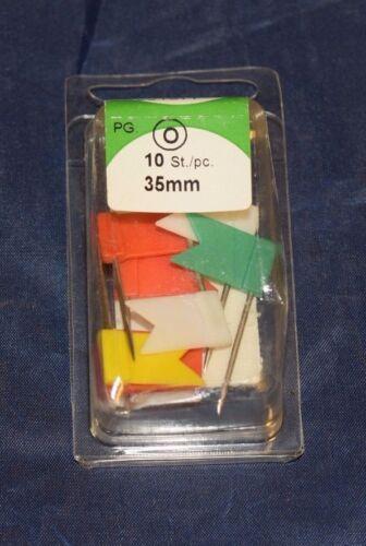 10 Stück HSI Markierfähnchen wehend bunt 35mm Pinnadeln für Landkarte 393