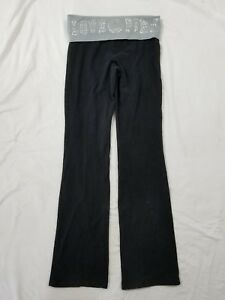 ce689bcf742c29 PINK Victoria's Secret Black Gray Loose Foldover Yoga Pants Size X ...