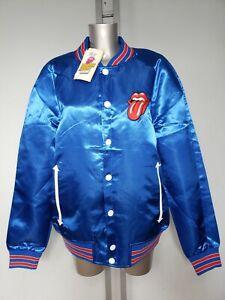 Tommy-Hilfiger-Rolling-Stones-blau-Satin-Bomber-Herren-Varsity-Jacke-Groesse-L-UK-42