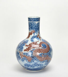 CHINESE-QING-YONGZHENG-MK-BLUE-AND-WHITE-PORCELAIN-VASE-w-UNDERGLAZED-DRAGON