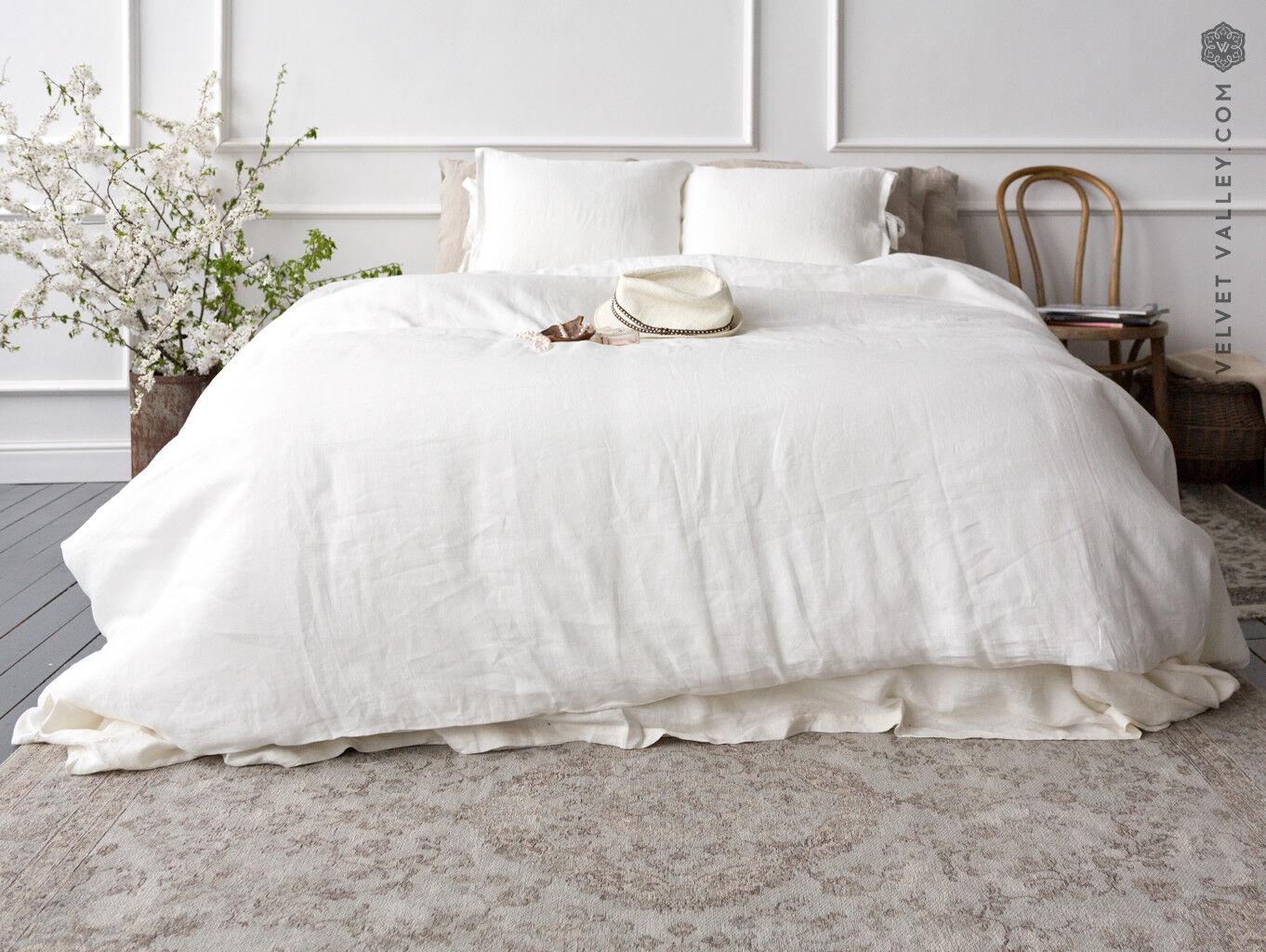 Linen optical bianca duvet cover- True bianca stone washed linen doona cover