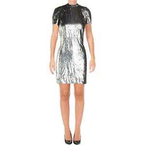 Argento Lauren Petite 6p Georgette Ralph Sequin Dress aqZwX6q