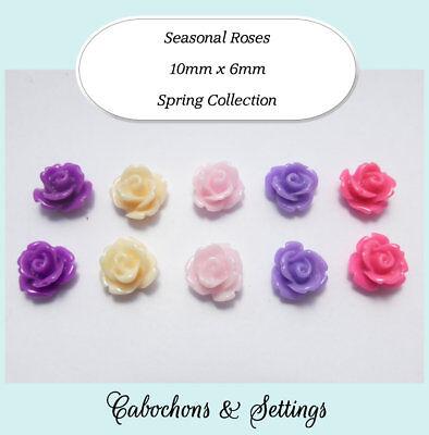 20 x 10mm Pink Resin Flat Back Flower Cabochons Rose