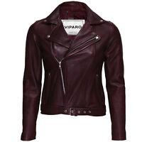 Viparo Womens Oxblood Red Moto Leather Biker Belt Jacket - Laurent
