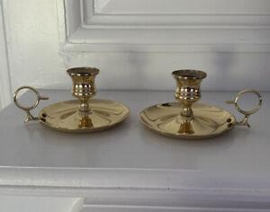 Set-Of-2-Vintage-Gold-tone-Handle-Candle-Holder-Votive-Taper-Tabletop-Decor