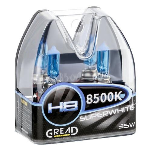 H8 BOX HALOGEN LAMPEN IN XENON OPTIK VON GREAD LIGHTS SUPER WHITE 8500K 35W