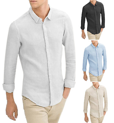 competitive price f2325 8c189 Camicia 100% LINO Uomo Manica Lunga Casual Slim Fit Bianca Nera Leggera  Fresca | eBay