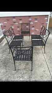 6 Williams Sonoma Pottery Barn Home Bridgehampton Metal Outdoor Dining Chairs
