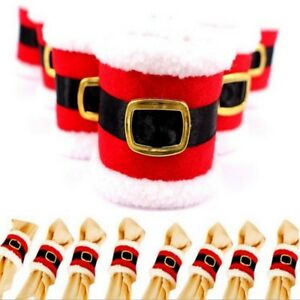4-Santa-Claus-Napkin-Rings-Holder-Belt-Buckle-Christmas-Xmas-Party-Decor-s-Hot