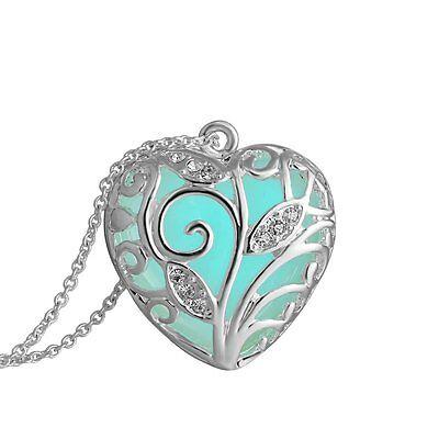 NEW Heart Shape Stripe Steampunk Blue Light Glow In The Dark Pendant Necklace GP