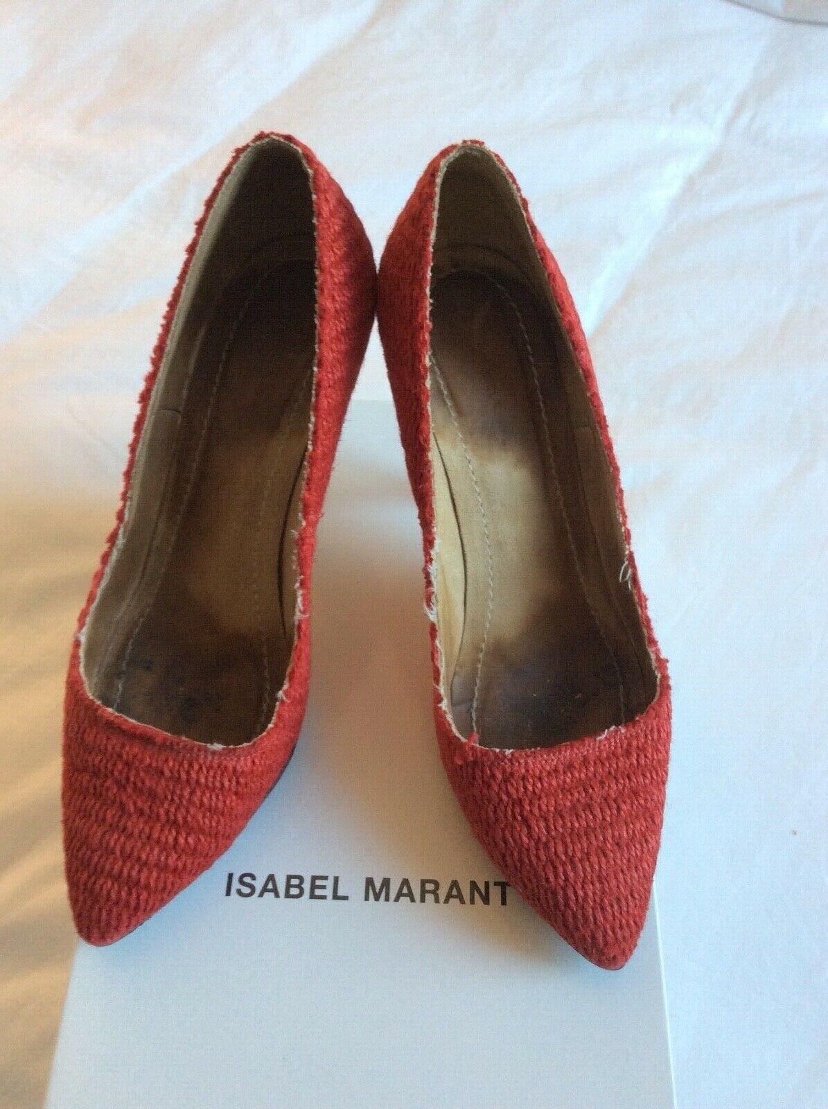 Isabel marant wedge raffia red 37