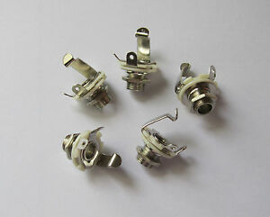 Pack-of-5-Electric-Guitar-Jacks-1-4-034-6-35mm-Mono-Jack-Sockets-Chrome