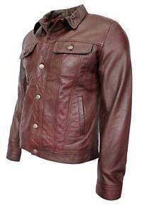 /'TRUCKER Men/'s OXBLOOD NAPPA Classic Real Lambskin Western Leather Jacket 1280