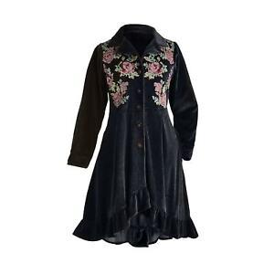 APT Designs Women's Velvet Jacket - Button Front Black Floral Embroidered Coat