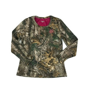 Realtree-Camouflage-Hunting-Shirt-Womens-L-42-44-Brown-Pink-Long-Sleeve