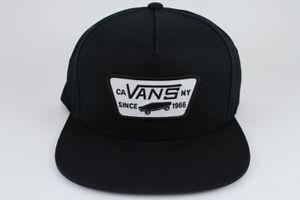 71752f16800 VANS FULL PATCH SNAPBACK HAT ADJUSTABLE CAP BLACK WHITE SKATEBOARD ...