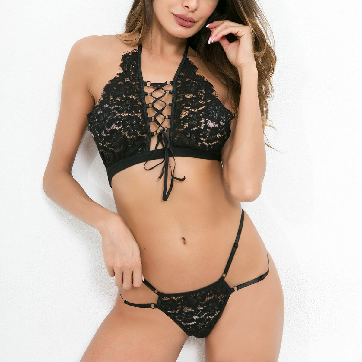 089a9f9d3 Sexy Black Strappy Lace Bralette Bra Lingerie Set Underwear Panties ...
