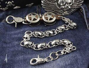 Mens-Star-Metal-Skulls-Biker-Trucker-Rock-Wallet-Chain-Jeans-Keychain