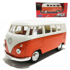 Welly-1-34-1-39-Die-cast-1963-Volkswagen-T1-Bus-Model-with-Box-Collection-Orange