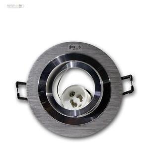 10-X-Focos-Empotrables-Redondos-Aluminio-Cepillado-Orientable-GU10-230V