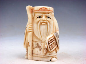 Bone Detailed Hand Carved Japan Netsuke Sculpture Old Man Cane Fan 04111804 Ebay