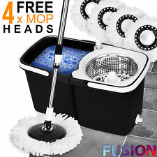 360° Spin Mop and Bucket Steel Wringer Floor Cleaning + 4 Absorbent Mop Heads