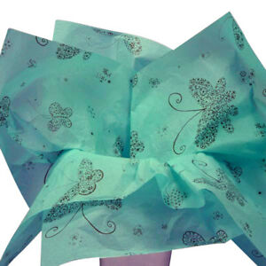 Teal Blue Green Floral Butterflies Tissue Paper Gift Wrapping 20