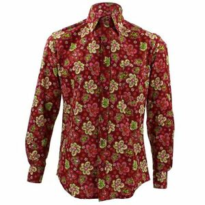 Retro Loud Fit Mens Shirt Tailored Floral Party Psychedelic Funky Pink Red rBoxQdCeW