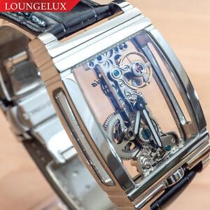 Mens-Flywheel-Bridge-Movement-Exhibition-Manual-Mechanical-Wrist-Watch-Silver
