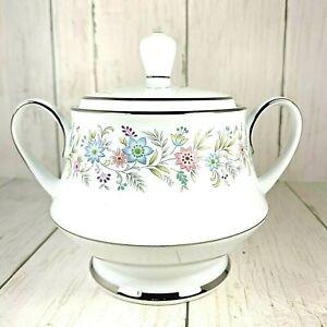Noritake-Blythe-2037-Sugar-Bowl-with-lid-Blue-Pink-Purple-Flowers-Platinum-Trim