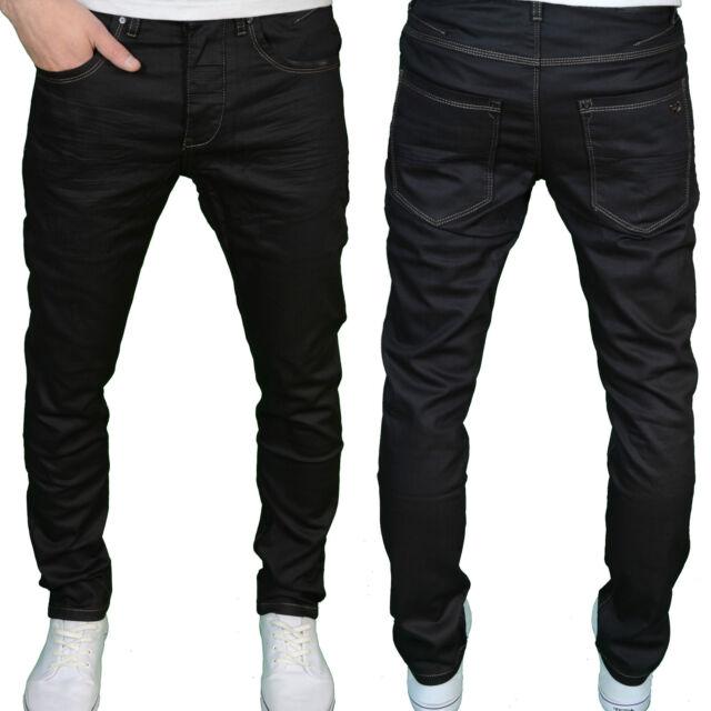 Eto Mens Designer Branded Regular Fit Tapered Leg Black Coated Jeans, BNWT
