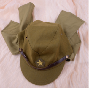 f640b2bac Details about Green Officer Field Wool World War II WW2 Japanese Army  Soldier Hat Cap Military