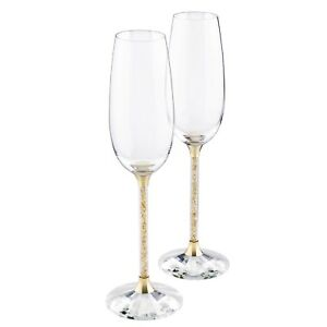 5e43c200645e Image is loading Pair-of-Gold-Swarovski-Crystal-Filled-Champagne-Flutes-