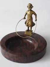 Antike Marmorschale mit Bronze Figur Mädchen Signiert mit Gräfner