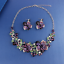 Fashion-Bib-Choker-Crystal-Pendant-Statement-Necklace-Earrings-Party-Jewelry-Set thumbnail 12