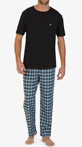 $64 NAUTICA MENS WOVEN PAJAMA FLANNEL SET PANTS BLUE GRAY SOLID SLEEPWEAR SIZE L